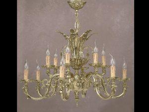 Lámpara clásica estilo neoclásico de bronce trabajada artesanalmente