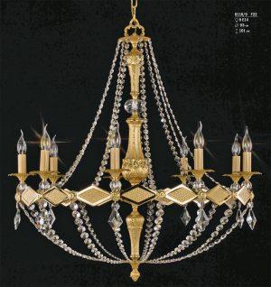 Lámpara de bronce fundida artesanalmente y vestida con cristal Asfour. Alta decoración.