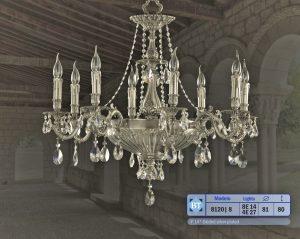 Lampara clasica de bronce con cristal plomo y con cristal Asfour.