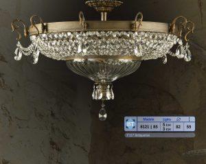 Plafón clásico de bronce con cristal de plomo